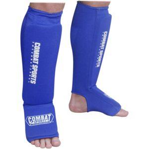 blue sock type shin guards